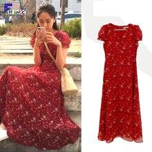 Vestidos de gasa para mujer, ropa estilo coreano, manga corta, línea A, estampado Floral rojo, Vintage, vestido largo