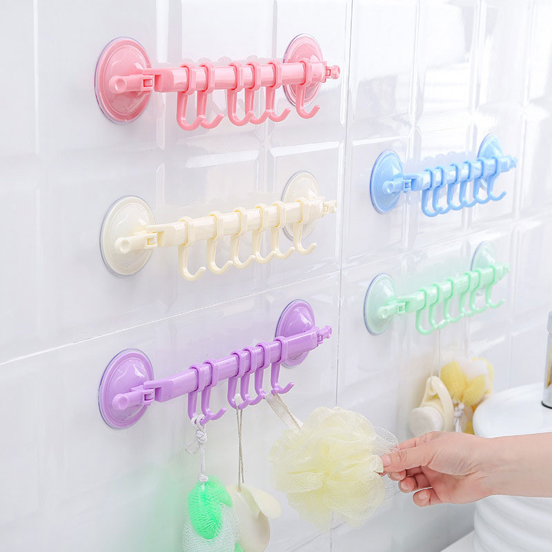 Adjustable 6 Hook Suction Cup Bath Towel Hanger Rack Hanging Shelves Holders Lock Type Sucker Bathroom Kitchen Hook Organizer DA