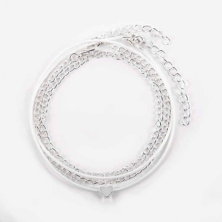 Anyż minimalistyczne panie bransoletki na nogę moda srebrny miłość serce kobiece łańcuszek na kostkę dla kobiet wielowarstwowe plaża urok łańcuszek na kostkę biżuteria prezent