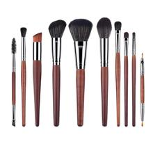 10pcs/Set Pro Makeup Brushes Set Wood Handle Eye Lip Face Beauty Cosmetic Tools Nylon Wool
