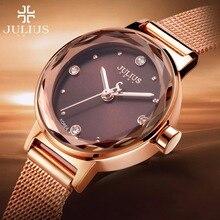 Julius marca relógios femininos à prova dwaterproof água aço inoxidável malha relógio de quartzo simples multi corte superfície espelho pulseira relógio