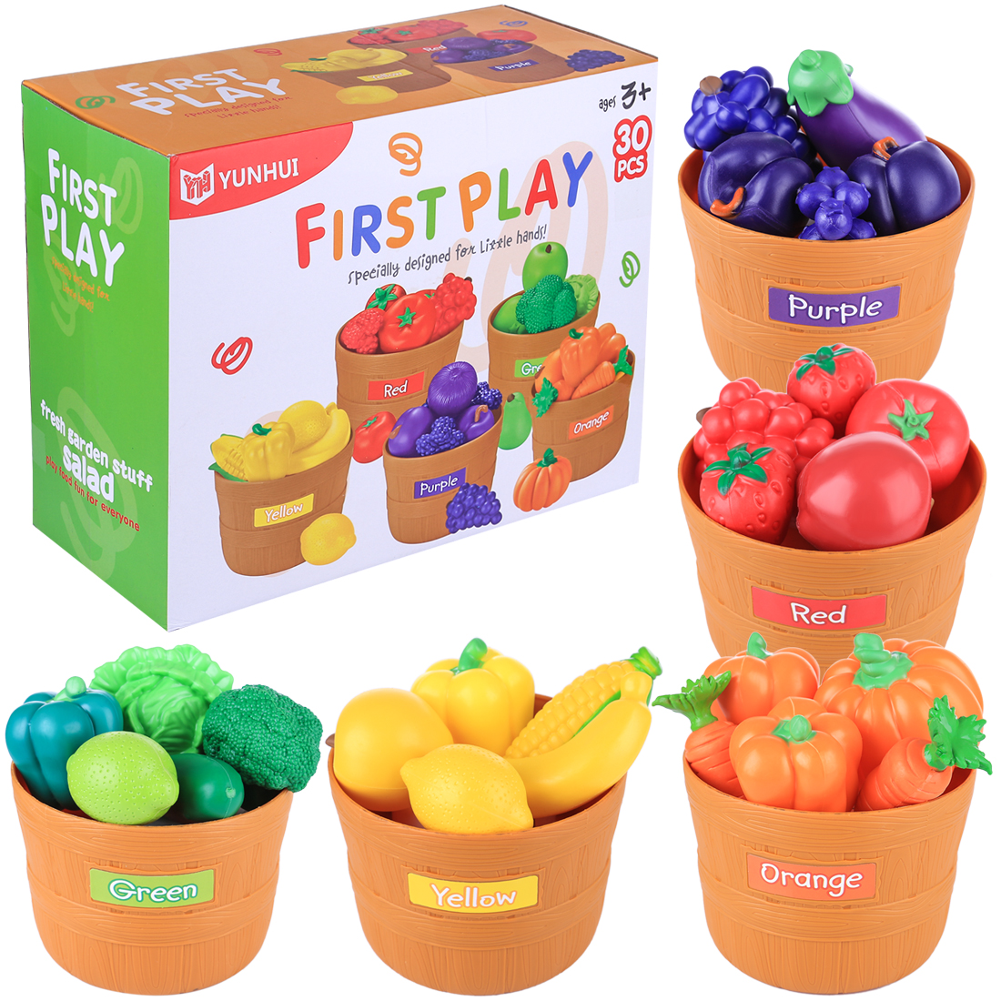 30Pcs Children Age 3 Pretend Play Simulated Fruits and Vegetables with 5 Buckets Playset Early Educational Toys Kitchen Toys in Kitchen Toys from Toys Hobbies