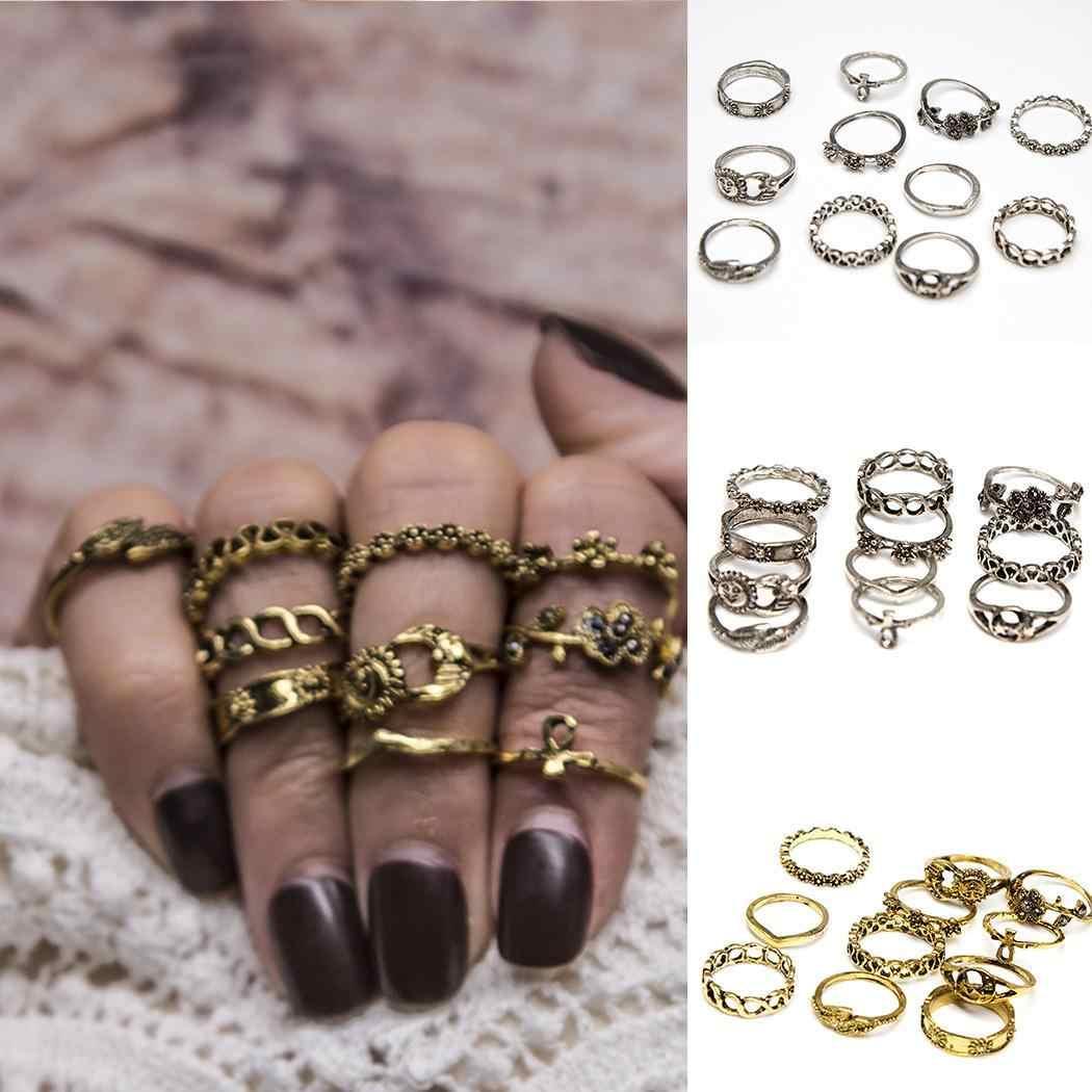 Anillo de plata nudillo piedra redonda Hippie 11 unid/set Vintage Conjuntos Casuales anillos estilo Tribal Punk oro para mujer