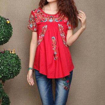 569485808 Vintage 70 s Vieira étnicos camiseta Floral bordado mexicano Hippie blusa  Tops