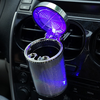 Car Ashtray With LED Light Cigarette Ash Tray Container Smoke Ash Cylinder Smoke Cup Holder Storage Cup   Auto   Accessories PQJ4208
