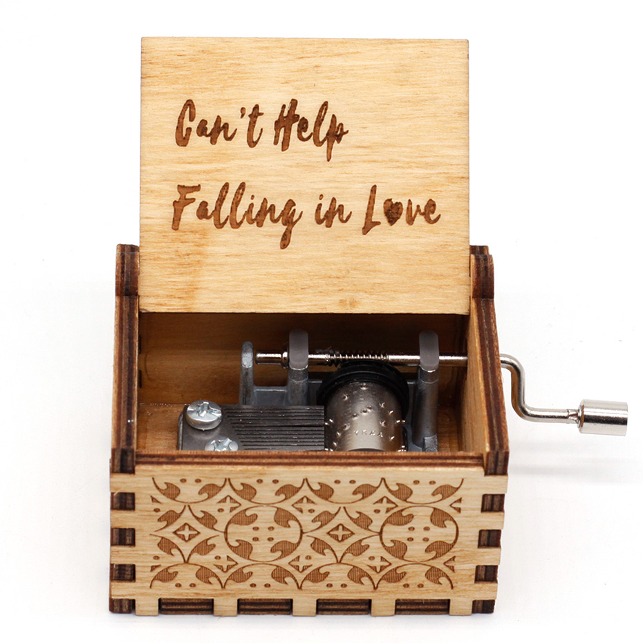 Can't Help Falling In Love Wood Hand Crank Music Box Fly Me To The Moon Game Of Throne Star War Caja Musical Christmas Gifts