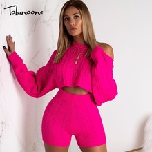 Tobinoone Two Piece Set Women Autumn Winter Outfits Long Sleeve Knit top and shorts