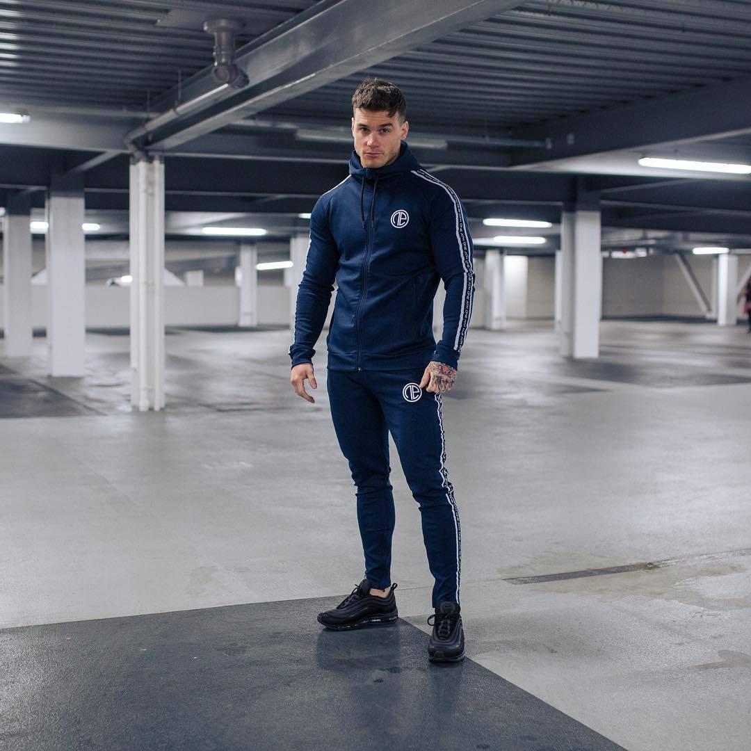 Nuevo conjunto de ropa deportiva para correr para hombre, chándales de gimnasia, sudaderas + Pantalones, ropa de entrenamiento - 2