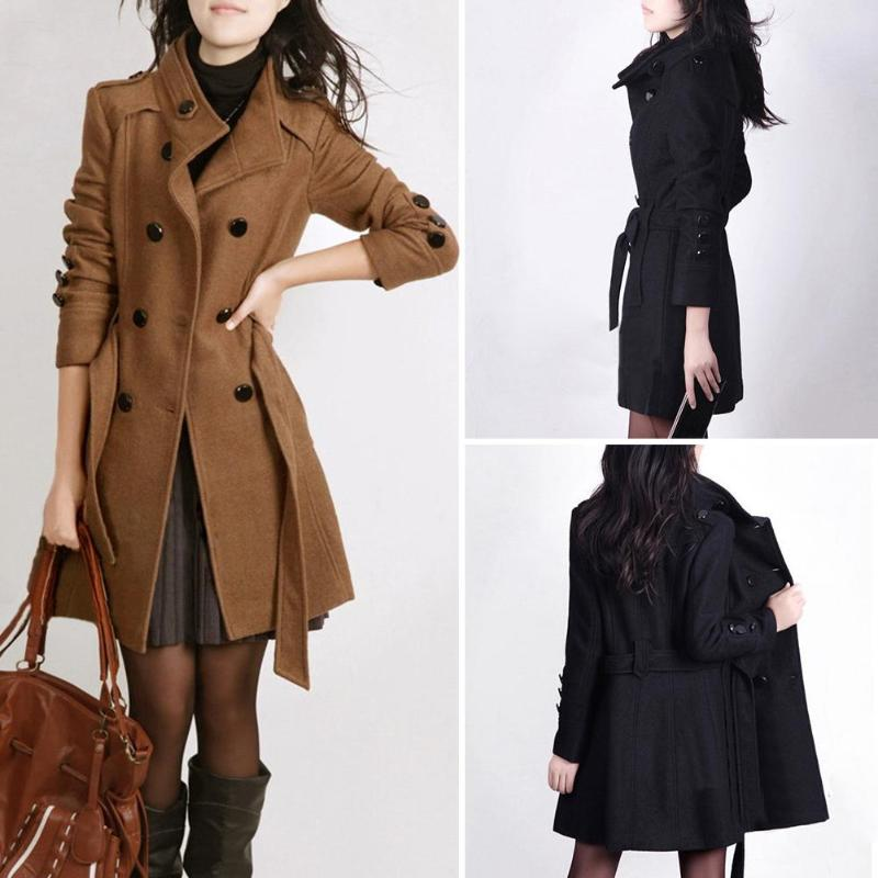 2018 Autumn Fashion Women Trench Coat Double Breasted Long Sleeve Winter Warm Woolen Coats Pockets Slim Fit Waist Belt Outerwear