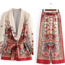 Женский костюм с винтажным принтом, куртка с поясом, широкие брюки, костюм, набор, Harajuku, Женское пальто,, Весенняя элегантная верхняя одежда, Женский блейзер