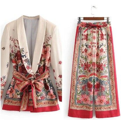 Женский костюм с винтажным принтом, куртка с поясом, широкие брюки, комплект, Harajuku, Женское пальто, 2020, Весенняя элегантная верхняя одежда, Же...