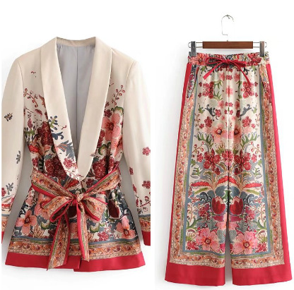 Vintage Print Female Suit Jacket With Belt Wide Leg Pant Suit Set Harajuku Women Coat 2020 Spring Elegant Outwear Lady Blazer