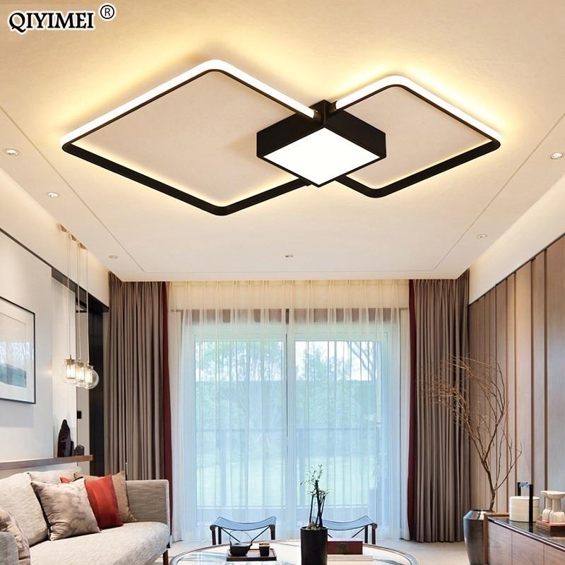 Candelabros LED modernos lámpara de luz iluminación de sala de estar tres dormitorio cuadrado cocina superficie de montaje regulable con Control remoto