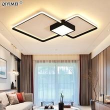 الحديثة LED الثريات ضوء مصباح غرفة المعيشة الإضاءة ثلاثة مربع غرفة نوم المطبخ سطح جبل عكس الضوء مع جهاز التحكم عن بعد
