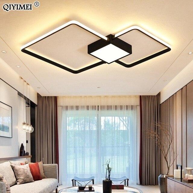 Modern LED avizeler işık lamba oturma odası aydınlatma üç kare yatak odası mutfak yüzey montaj kısılabilir uzaktan kumanda ile