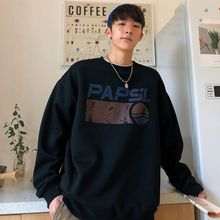 Autumn and winter Harbor wind Round collar Cashmere thickened fleece loose The letter printing Hip-hop casual male pullovers