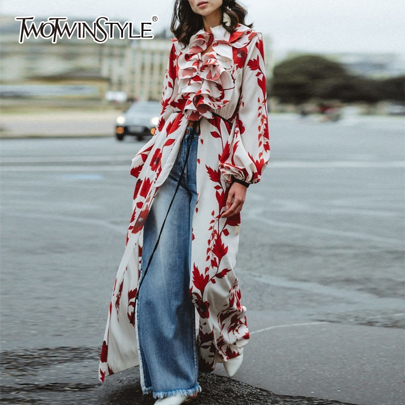 TWOTWINSTYLE High Split Print Dresses Women Lantern Sleeve Patchwork Ruffle Female Dress Elegant Autumn 2019 Fashion