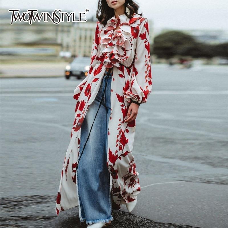 TWOTWINSTYLE High Split Print Dresses Women Lantern Sleeve Patchwork Ruffle Female Dress Elegant Autumn 2018 Fashion Clothing