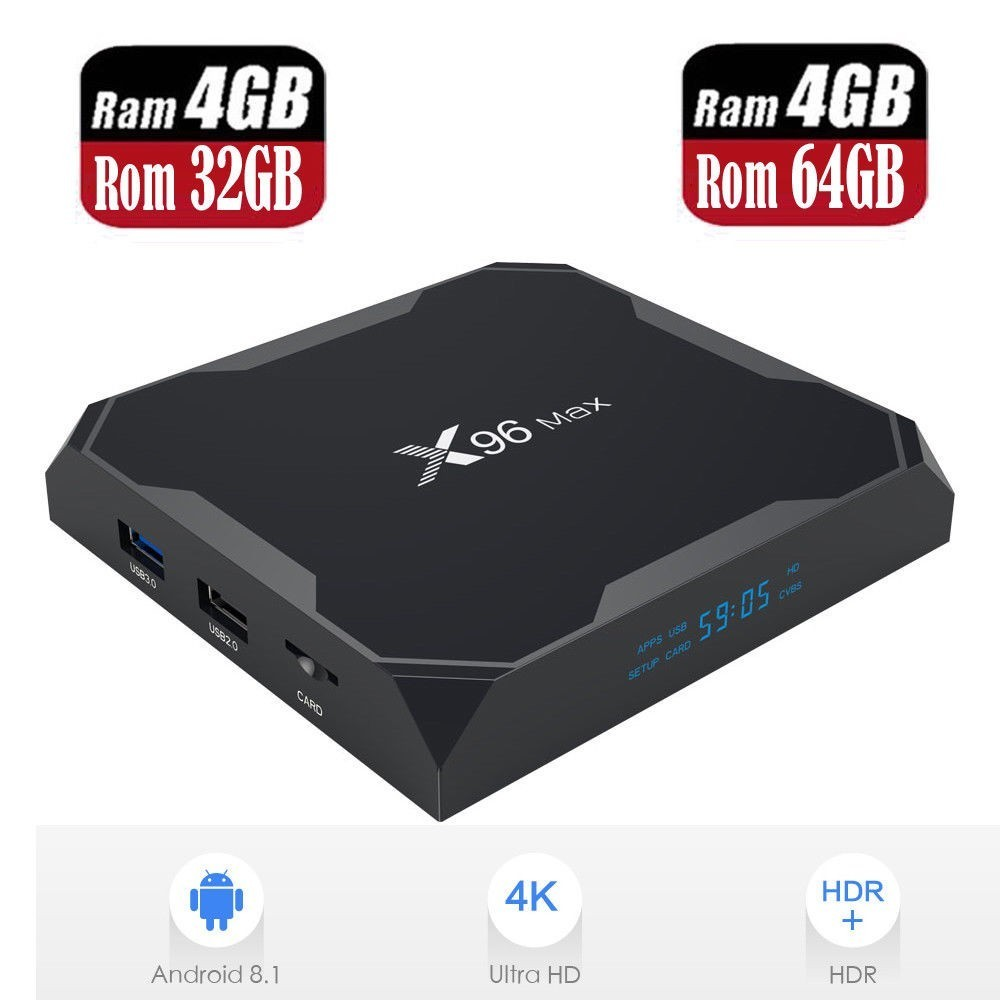 Android 8 1 TV BOX 4GB Ram DDR4 32GB 64GB Rom BT4 X96 Max 4K 3D