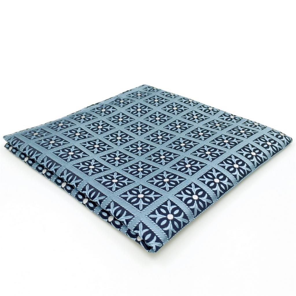 EH03 Mens Pocket Square Blue Checkes Floral Silk Fashion Classic Handkerchief Dress