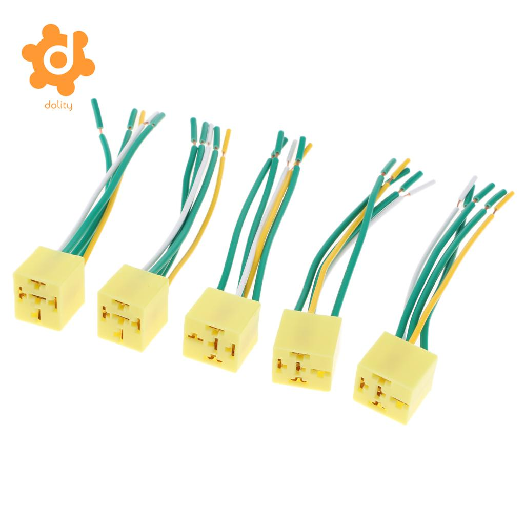 Ee Support New Black Dc 12v 40a Spst Premium Relay Socket 4pin 4p Wiring A Changeover 5 Pieces 12 36v Pin Automotive Harness Sockets