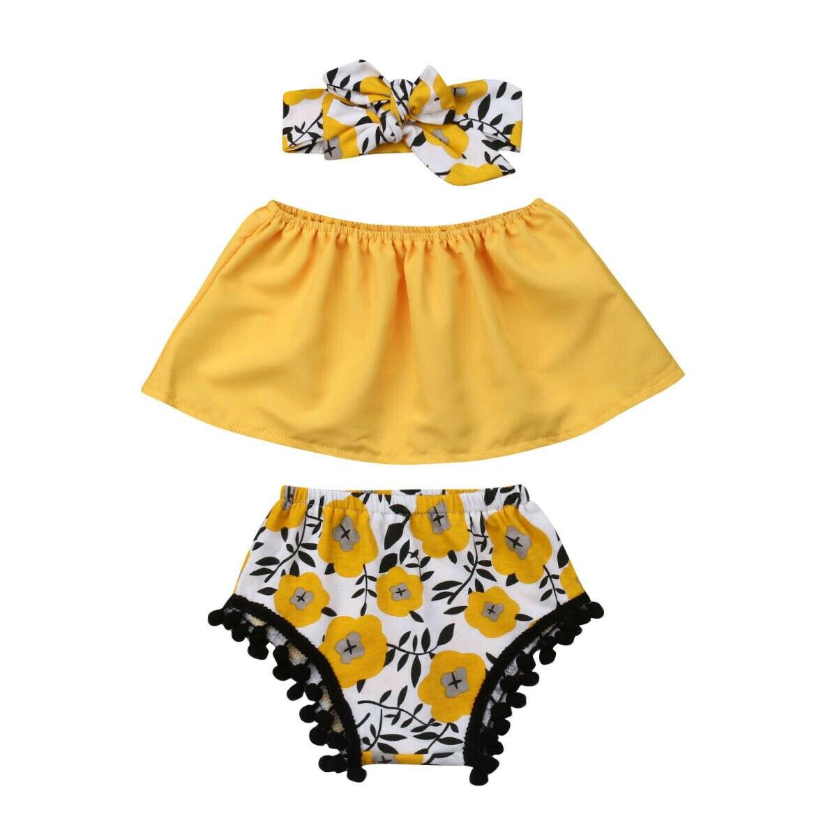 0-18 M Nette Neugeborene Baby Mädchen Off Schulter Crop Tops Floral Quaste Ball Baby Pumphose Shorts Stirnband 3 Pcs Sommer Kleidung Set