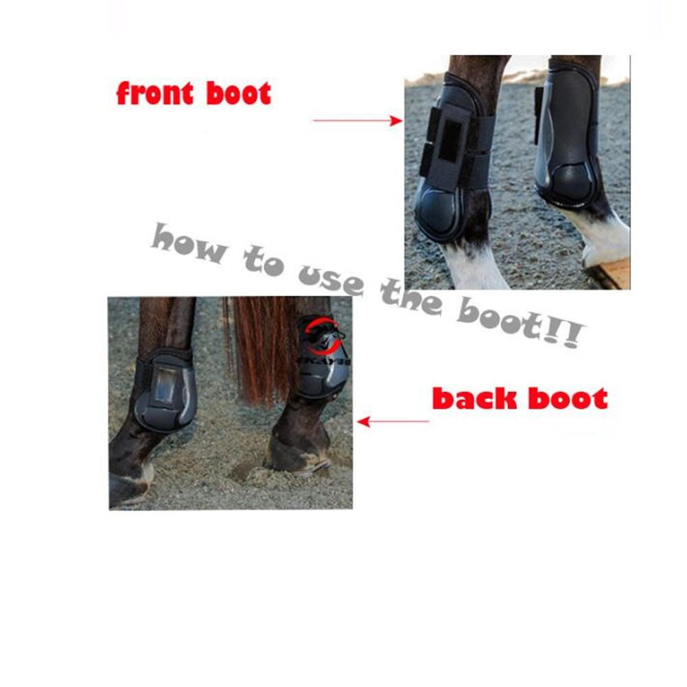 Mounchain 1 Pair Horse Leg Care Tendon Boot Protective PU + Diving Material Professional Hind Horse Leggings Protector