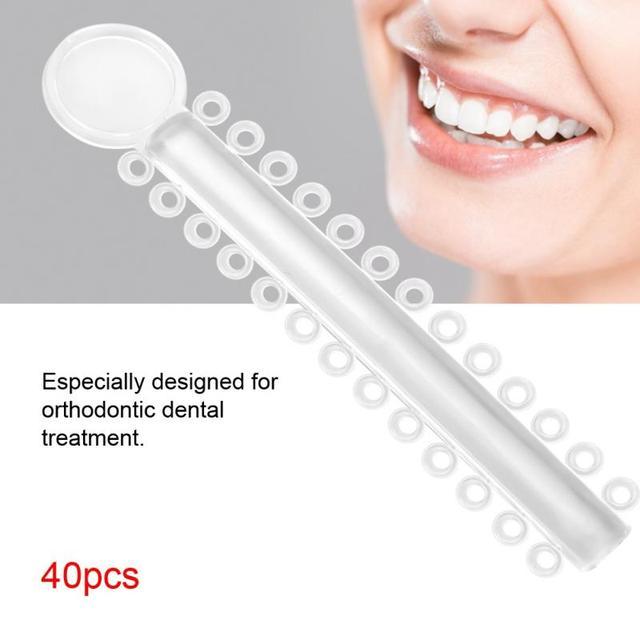 40Pcs Dental Orthodontic Rubber Band Dental Ligature Ties  Treatment Elastic Transparent For Teeth Oral Care Dental Tool