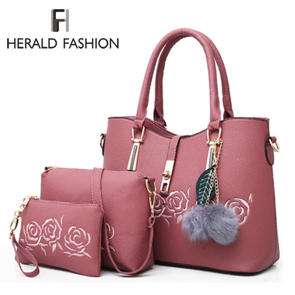 Herald Fashion 3pcs Leather Bags Handbags Women Famous Brand Shoulder Bag Female Casual Tote Women Messenger Bag Bolsas Feminina mtenle leather bags handbags women s famous brands bolsa feminina big casual women bag female tote shoulder bag ladies large fi