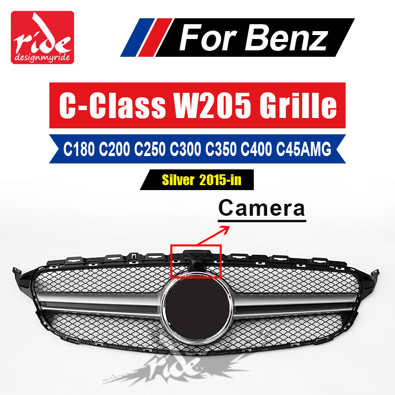 W205 ABS Silver Sport Front Grille Without Emblem For Benz W205 C class C180 C200 C250 C300 400 With Camera Front Bumper 2015 in-in Racing Grills from Automobiles & Motorcycles    1