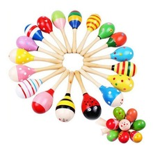 2Pcs Colorful Wooden Maraca Rattle Shaker Baby Kids Music Instrument Educational Toy Gift 2019 Hot Sales