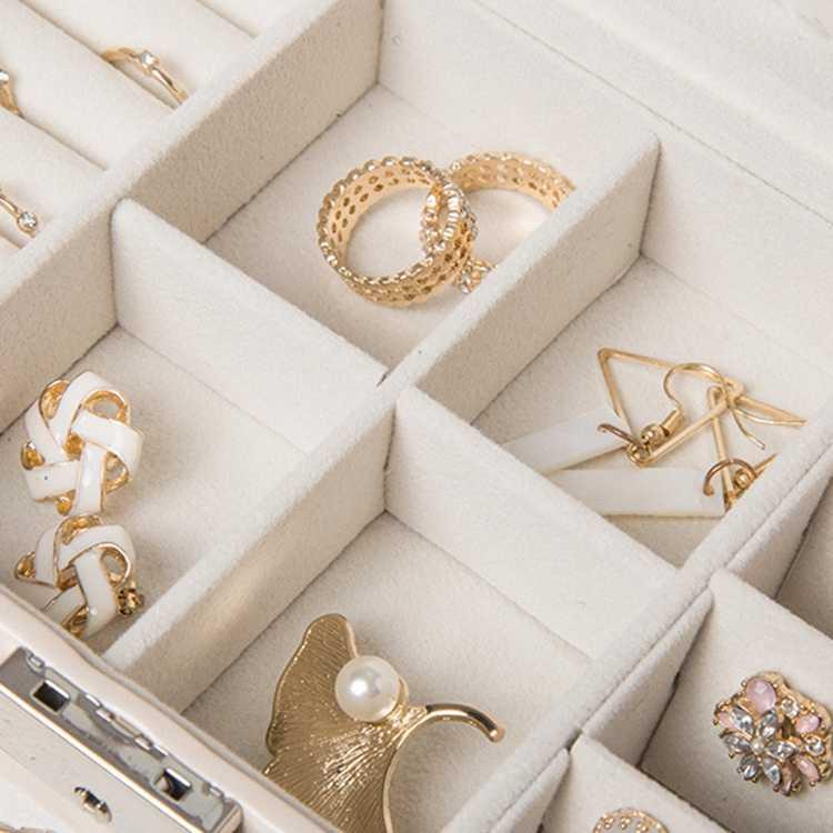 Reise Schmuck Box Frauen Leder Rechteck Verpackung Halskette Ringe Ohrringe Lagerung Organizer Display