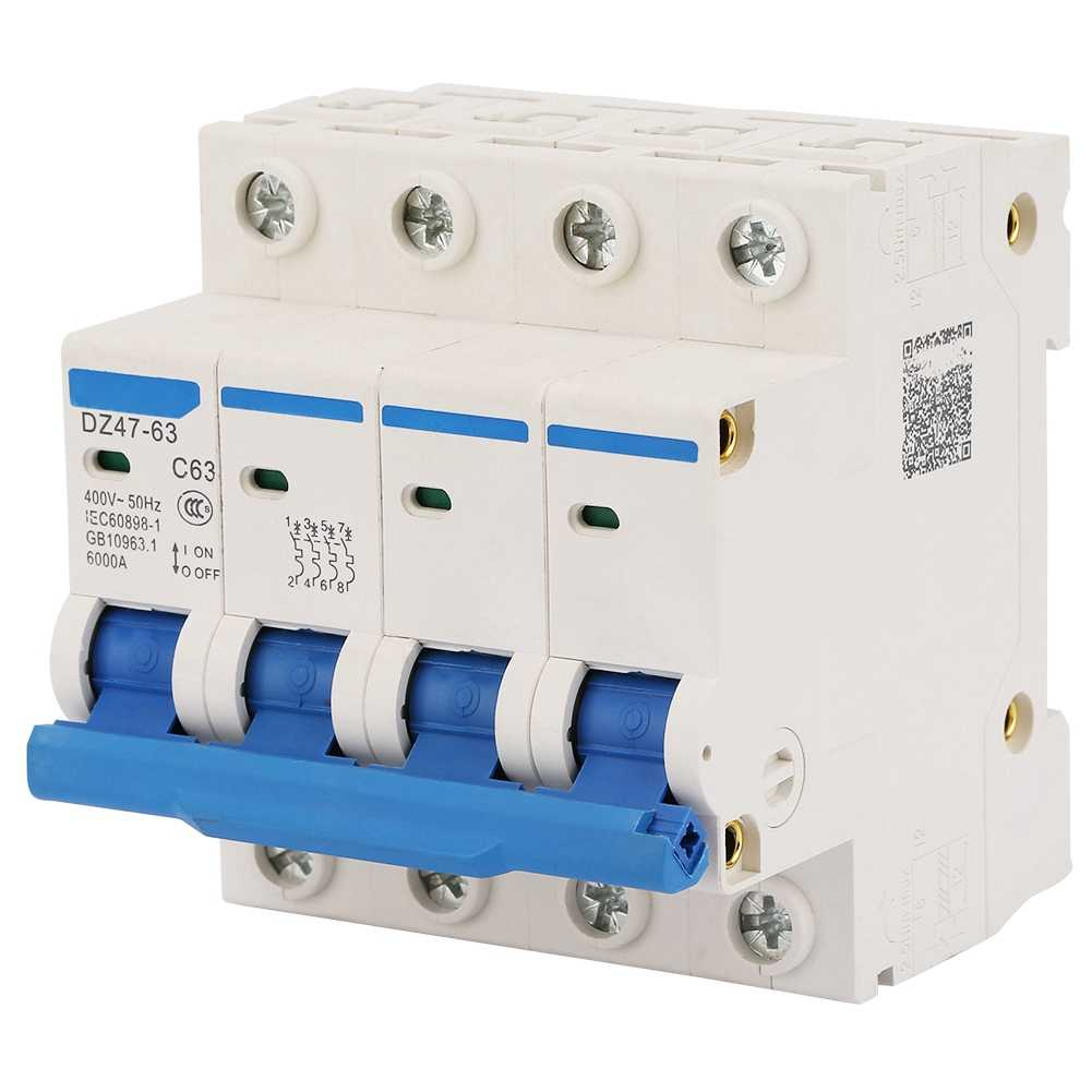 Leakage Protection 4P Residual Current Circuit Breaker 400V/63A Air Switch circuit breaker dc DZ47-63