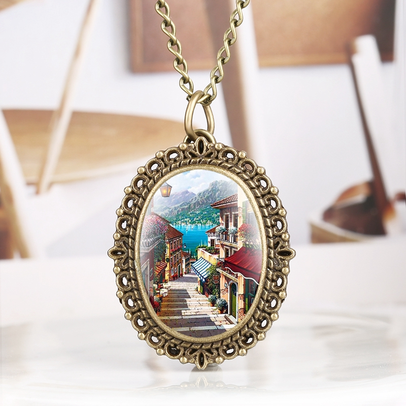 Little Oval Beautiful Town Scene Pattern Quartz Pocket Watch Retro Fashion Necklace Pendant Clock Hour As Sweater Chain Jewelry