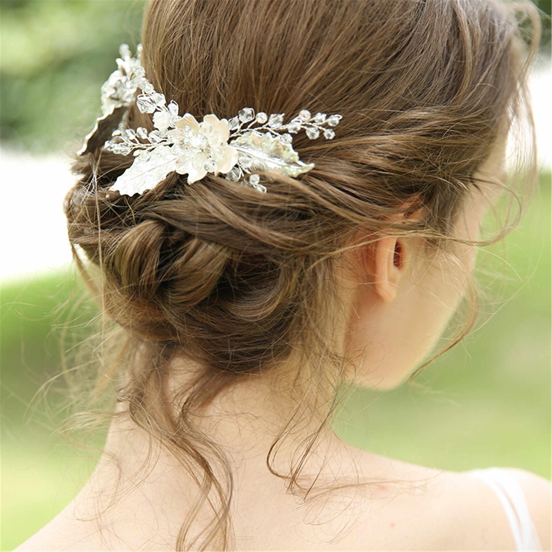 คริสตัลเจ้าสาวผม Tiara หวี Silver Leaf Crown อินเดีย Headpiece อุปกรณ์เสริมผม Frontlet Handmade Headband
