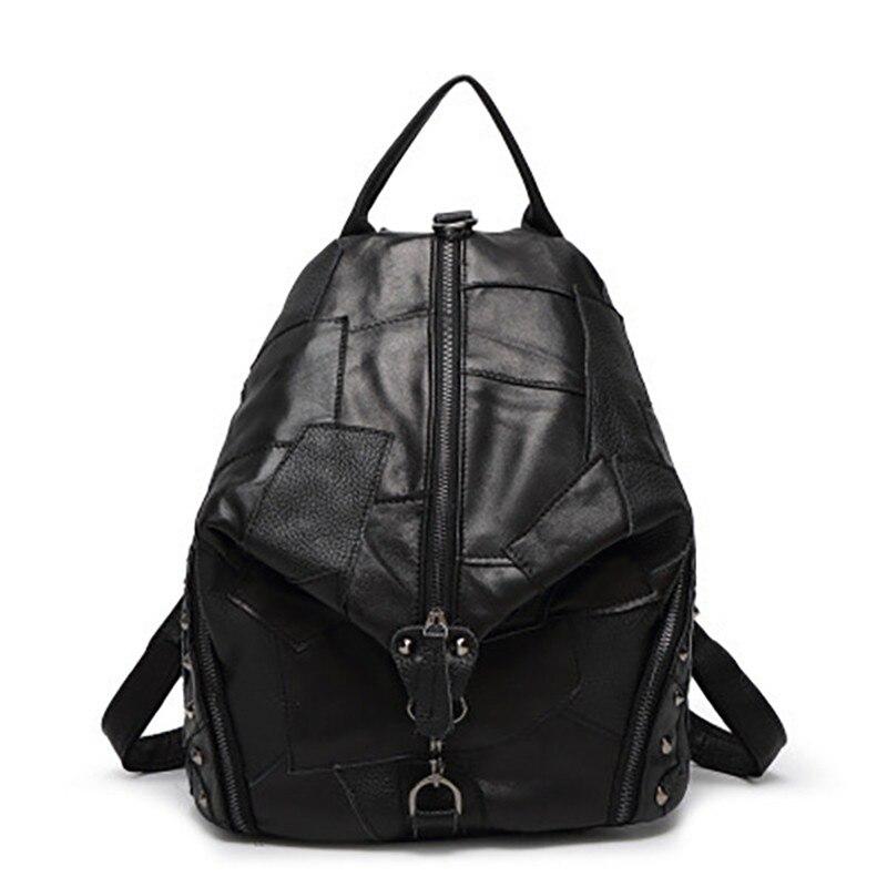 Designer noir sac à dos femmes Rivet sac à dos en cuir véritable sac d'école pour fille Patchwork sacs à bandoulière femme sac à dos Bolsa