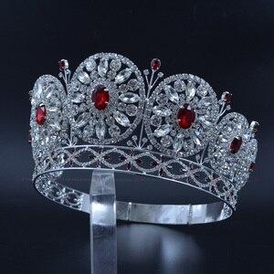 Korona Rhinestone Miss Beauty korony na konkurs korowód prywatne niestandardowe okrągłe kręgi ślubne ślubne biżuteryjna opaska na głowę mo228