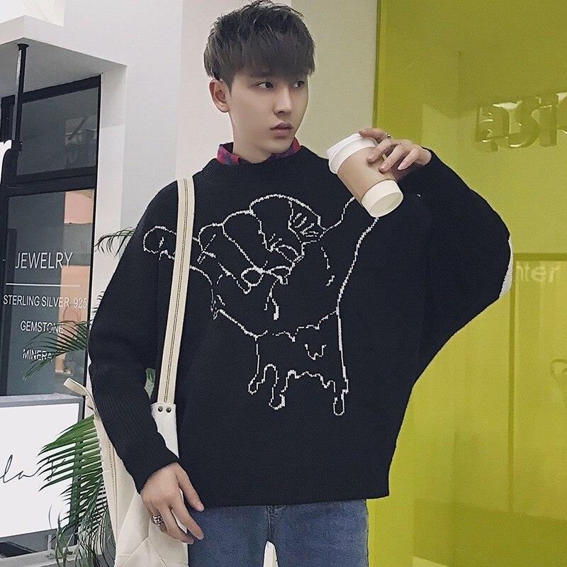 2019New printemps et hiver armure chauve-souris à manches longues pull polaire chandail à tricoter vêtement supérieur hommes meilleur épais dessin animé noir gris