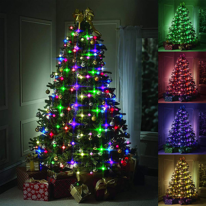 Outdoor Christmas Tree LED String Lights EU US Plug Waterproof 48 64 Leds for Party Garden