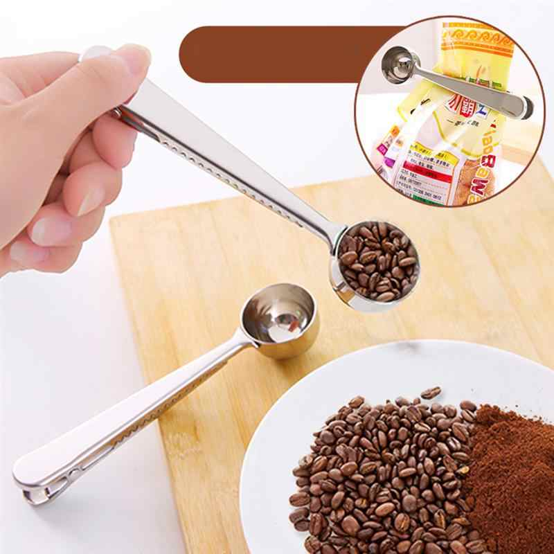 2pcs Spoon Practical Stainlss Steel Spoonful Coffee Powdered Milk with Seal Dual Purpose Scoop