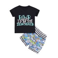 Toddler Baby Boys Clothes 2PCS Letter Dinosaur Pattern Print T-shirt Tops Shorts Pants Cotton Cool Soft Outfit Set
