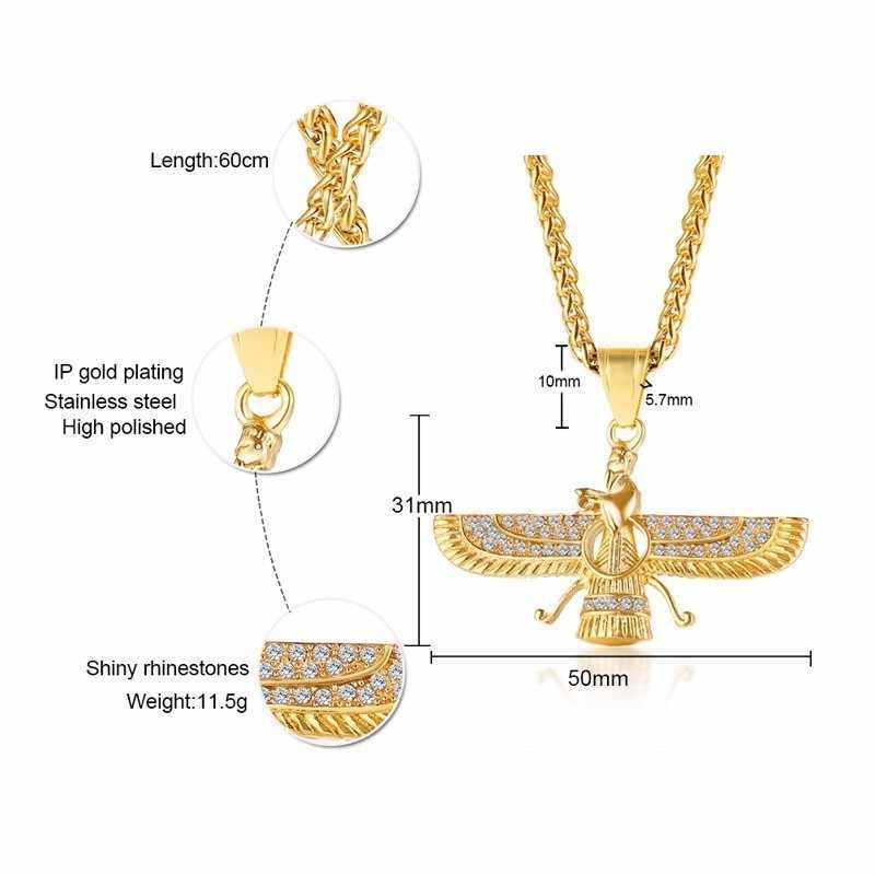 Dropshipping Ahura Mazda Zoroastrian Farvahar skrzydło naszyjnik wisiorek w złoto ze stali nierdzewnej Medyan religi achemenidów mężczyzn biżuteria