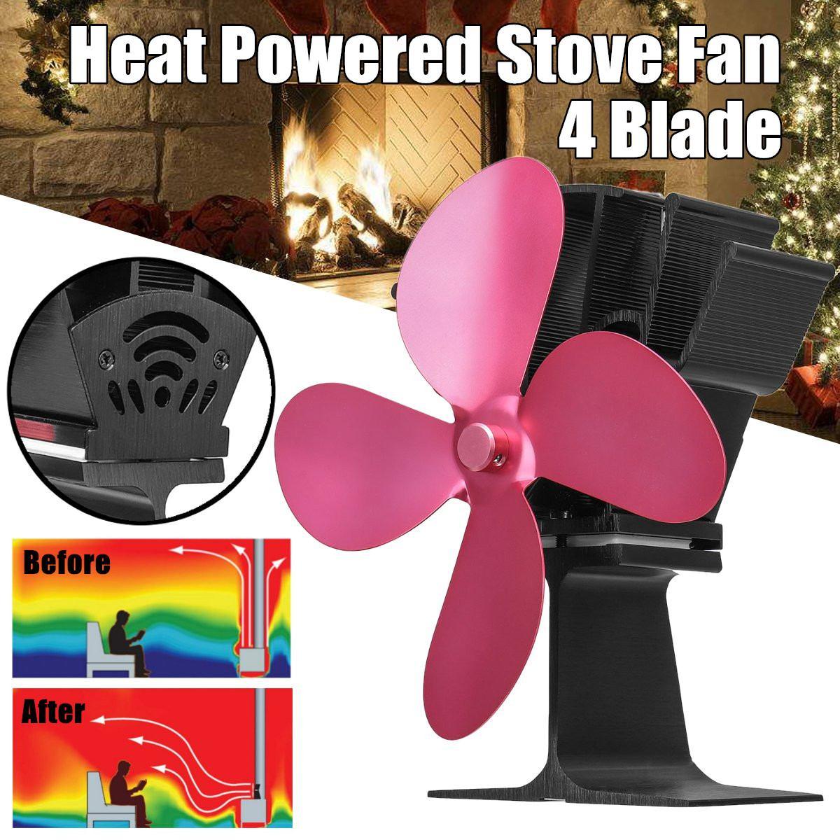 4 Blades Heat Powered Stove Fan Log Wood Burner Ecological fan Quiet Home Fireplace Fan Efficient Heat Distribution