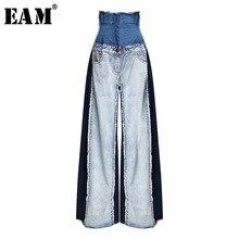 [EAM] Новинка Весна Лето Высокая талия Свободные хит цвет деним карман синие длинные широкие брюки джинсы женские брюки Мода JR841