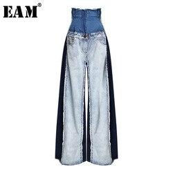 [EAM] 2019 Новинка Весна Лето Высокая талия Свободные хит цвет деним карман синие длинные широкие брюки джинсы женские брюки Мода JR841