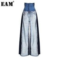[EAM] 2019 New Spring Summer High Waist Loose Hit Color Denim Pocket Blue Long Wide Leg Jeans Women Trousers Fashion Tide JR841