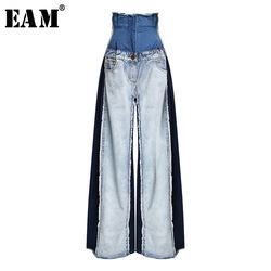 [EAM] 2019 New Spring Summer High Waist Loose Hit Color Denim Pocket Blue Long Wide Leg Jeans Women Trousers Fashion Tide JR841