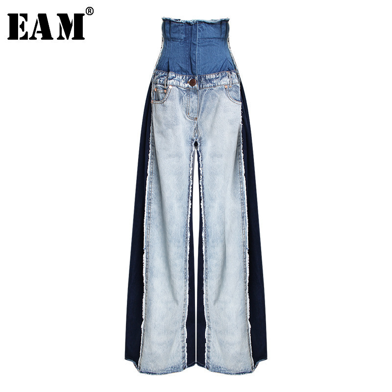 [EAM] 2020 New Spring Summer High Waist Loose Hit Color Denim Pocket Blue Long Wide Leg Jeans Women Trousers Fashion Tide JR841