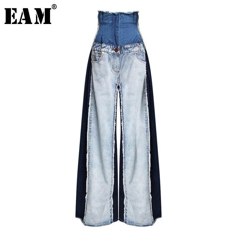 [EAM] 2019 nouveau printemps été taille haute lâche Hit couleur Denim poche bleu longue jambe large Jeans femmes pantalons mode marée JR841