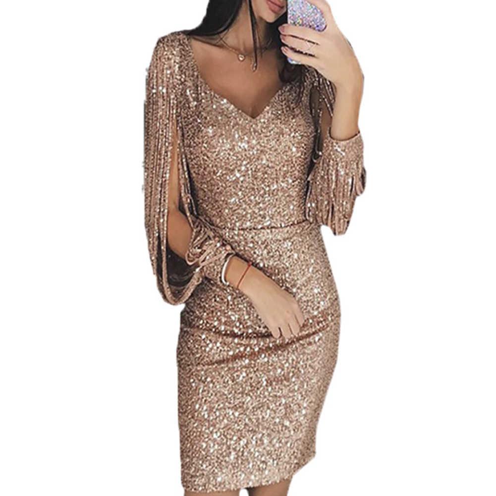 a8e5c8e4 2018 nuevo borla lentejuelas vestido de las mujeres Sexy cuello redondo  manga linterna vestido otoño vestido